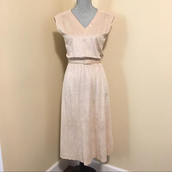 Vintage Creamy Beige Dress with matching belt